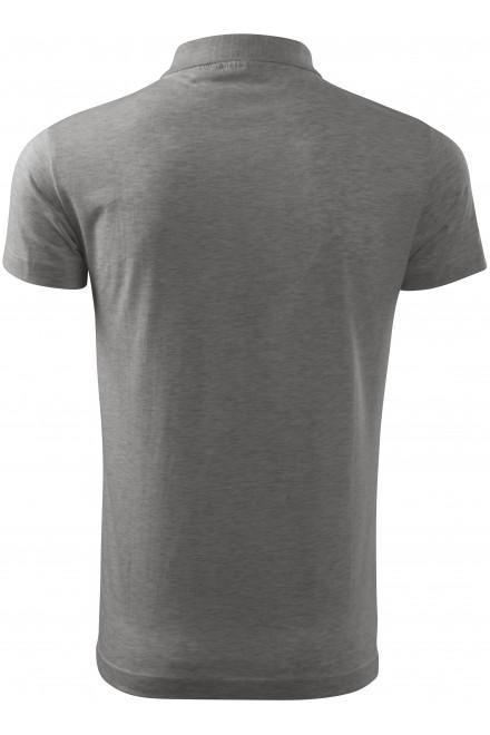 Dark gray melange men's simple polo shirt, S