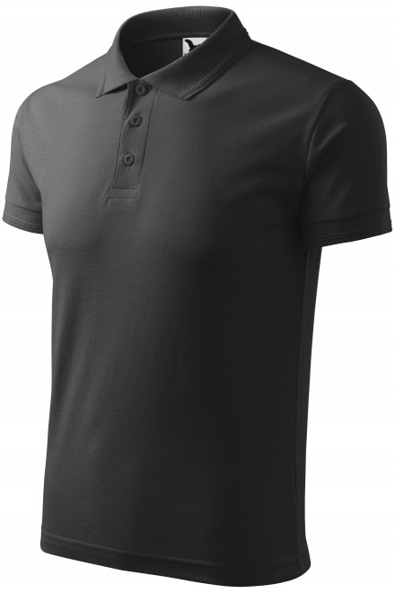 Men's loose polo shirt Anthracite melange
