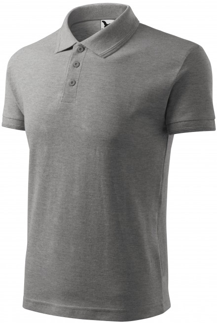 Men's loose polo shirt Dark gray melange