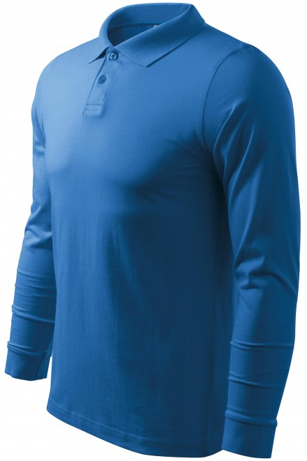Men's long sleeve polo shirt Azure blue