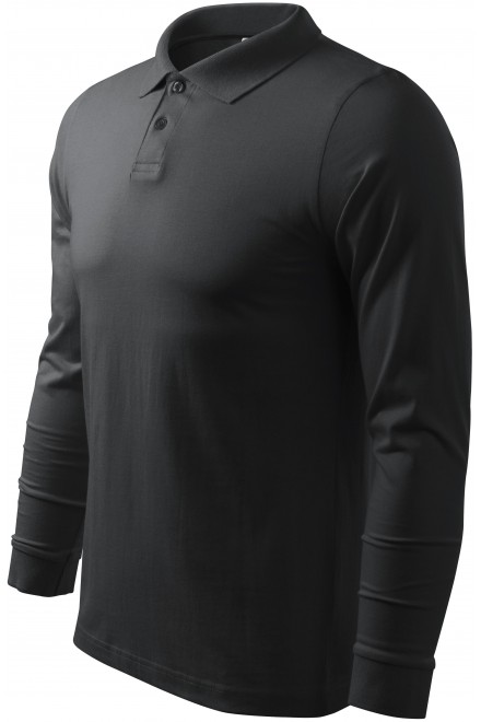 Men's long sleeve polo shirt Ebony gray