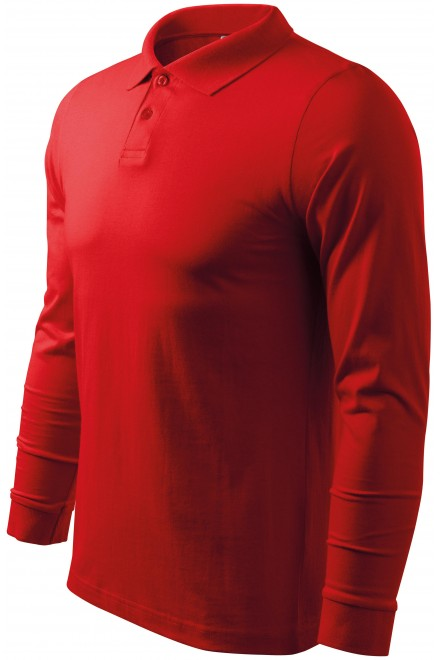 Men's long sleeve polo shirt Red