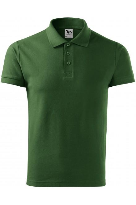 Bottle green men's elegant polo shirt