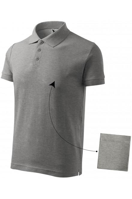 Dark gray melange men's elegant polo shirt