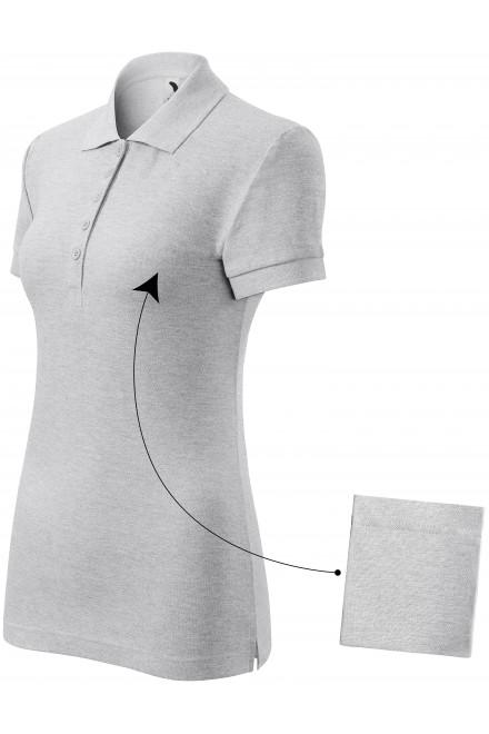 Ladies simple polo shirt Ash melange