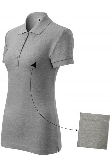Ladies simple polo shirt Dark gray melange