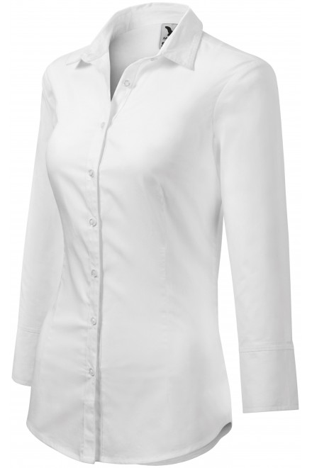 Ladies blouse with long sleeves White