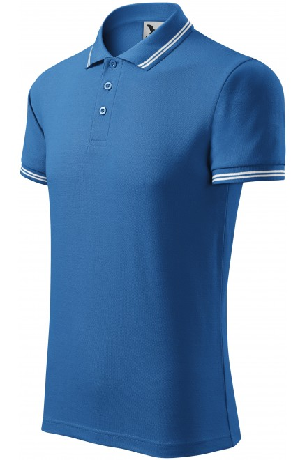 Men's contrast polo shirt Azure blue