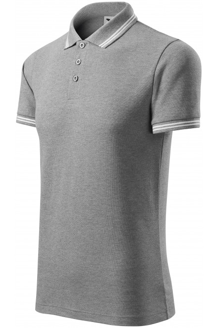 Men's contrast polo shirt Dark gray melange