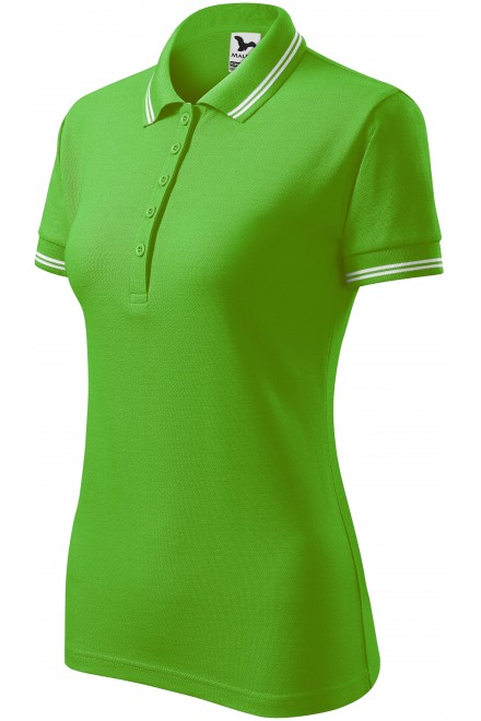 Ladies contrast polo shirt Apple green
