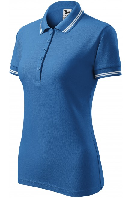 Ladies contrast polo shirt Azure blue