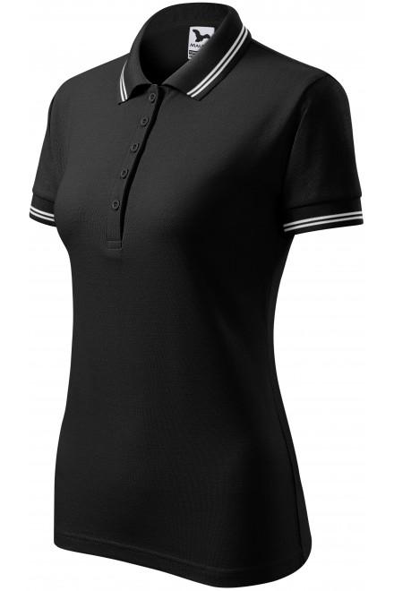 Ladies contrast polo shirt Black