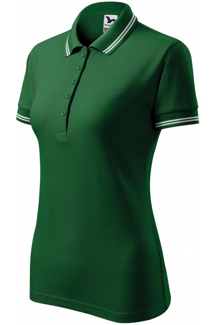 Ladies contrast polo shirt Bottle green