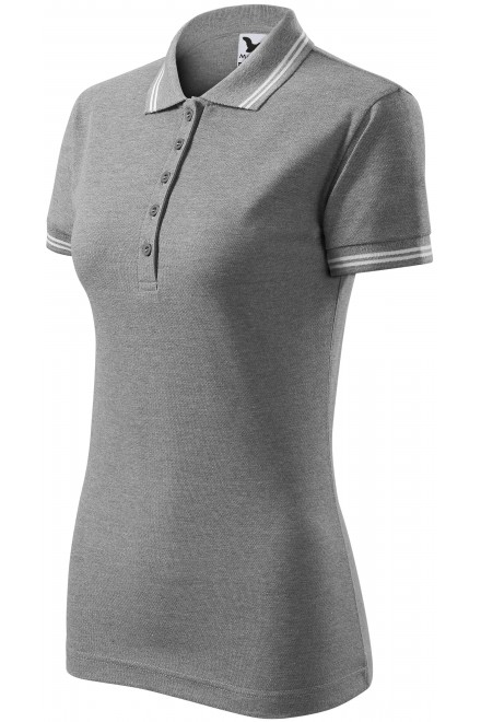Ladies contrast polo shirt Dark gray melange
