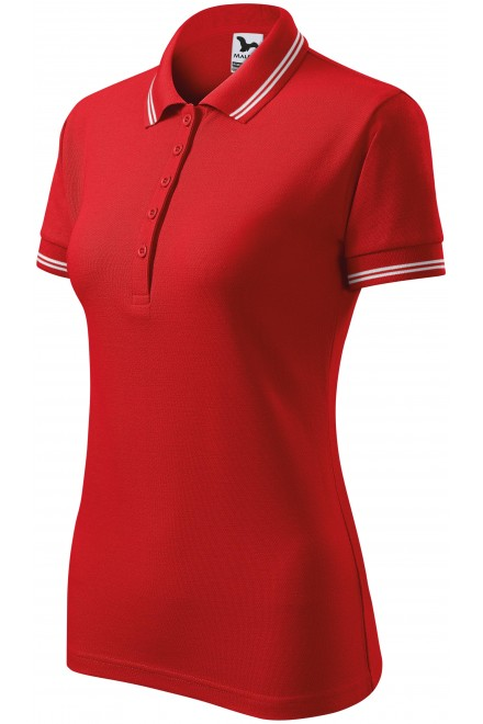 Ladies contrast polo shirt Red