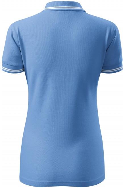 Sky blue ladies contrast polo shirt