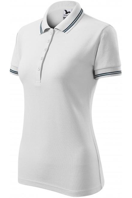 Ladies contrast polo shirt White