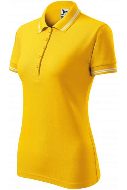 Ladies contrast polo shirt Yellow