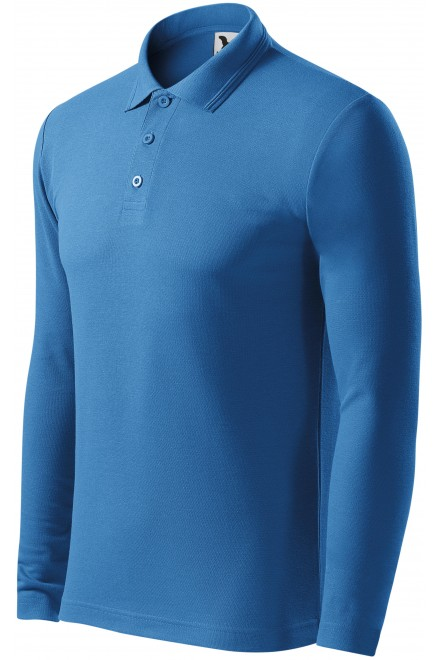 Men's polo shirt with long sleeves Azure blue