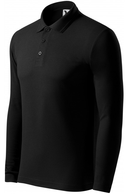 Men's polo shirt with long sleeves Black
