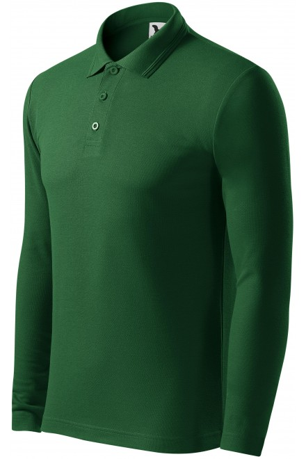 Men's polo shirt with long sleeves Bottle green