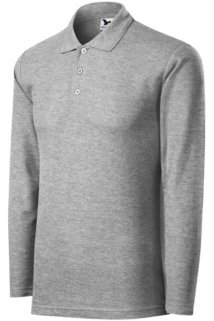 Men's polo shirt with long sleeves Dark gray melange