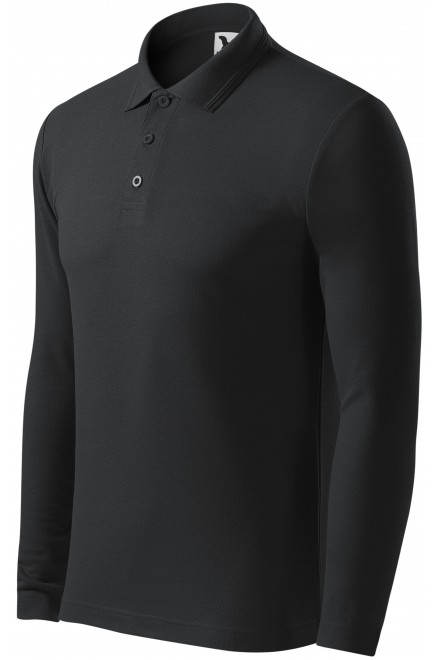 Men's polo shirt with long sleeves Ebony gray