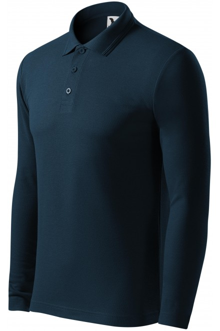 Men's polo shirt with long sleeves Navy blue
