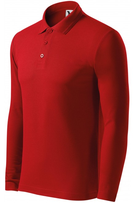 Men's polo shirt with long sleeves Red