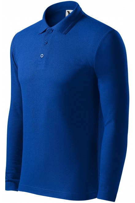 Men's polo shirt with long sleeves Royal blue