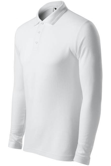 Men's polo shirt with long sleeves White