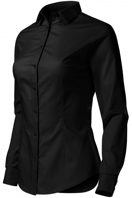 Ladies cotton blouse with long sleeves Black