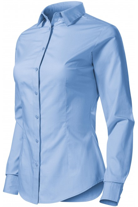 Ladies cotton blouse with long sleeves Sky blue