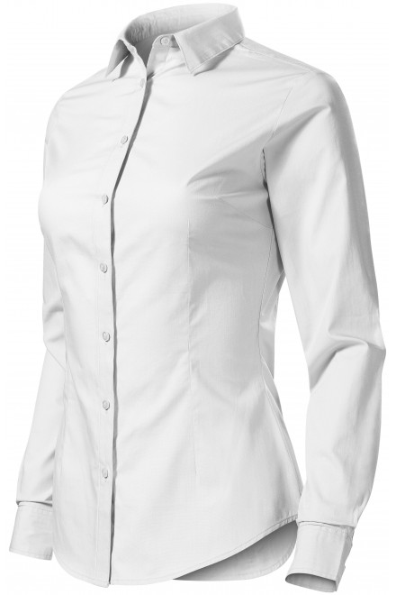 Ladies cotton blouse with long sleeves White