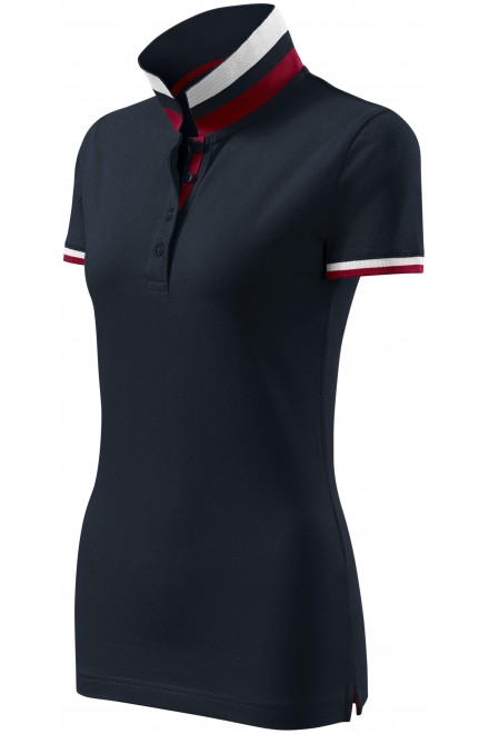 Ladies polo shirt with stand-up collar White