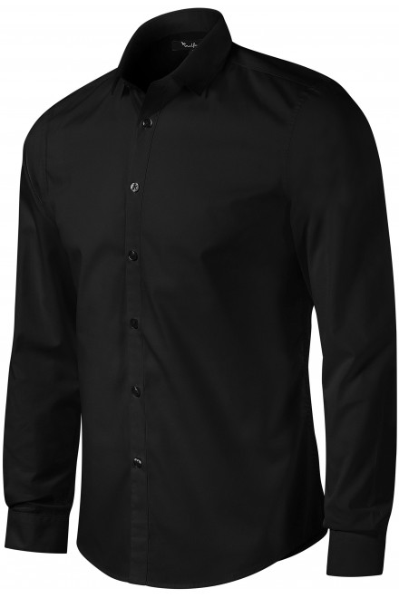 Men's shirt with long sleeves Slim fit Black