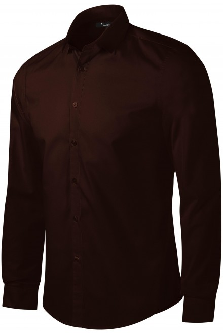 Men's shirt with long sleeves Slim fit Coffee
