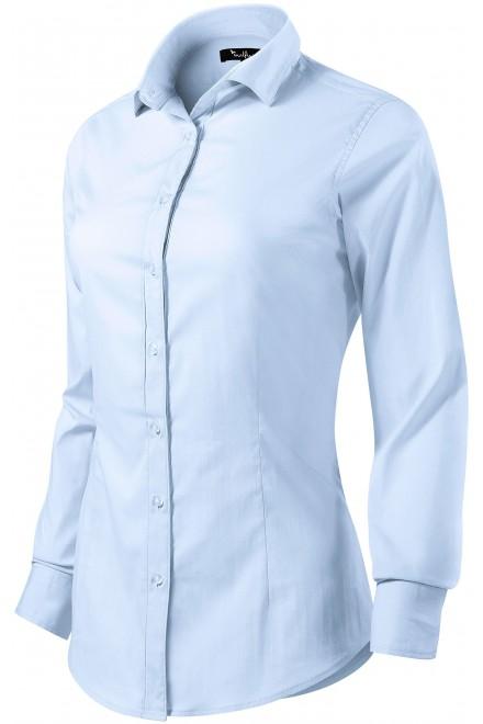Ladies long sleeve blouse Slim fit Light blue