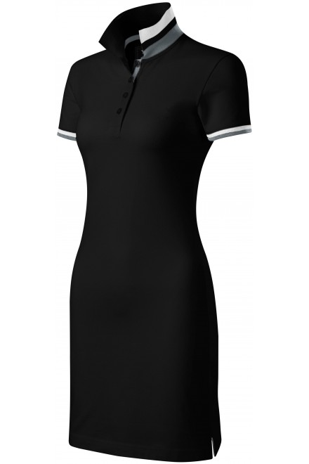 Ladies dress with collar up Black