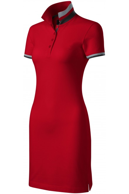 Ladies dress with collar up Formula red