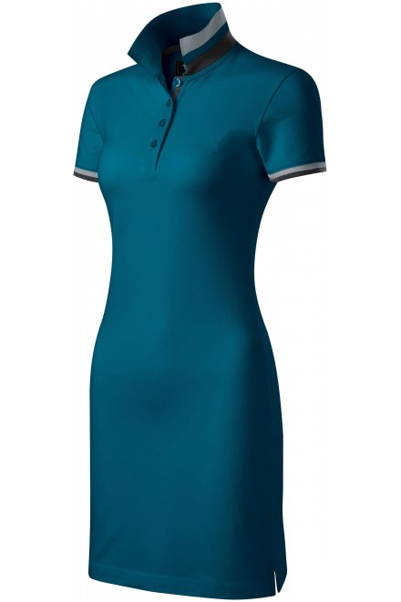 Ladies dress with collar up Petrol blue