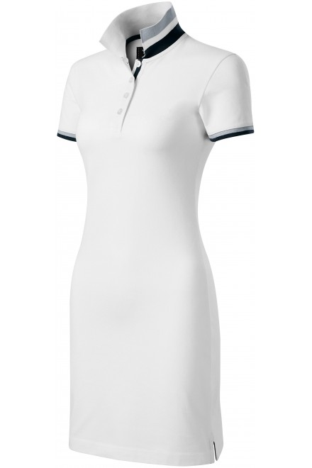 Ladies dress with collar up White