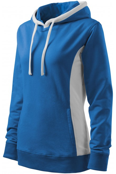 Ladies stylish sweatshirt with hood Azure blue