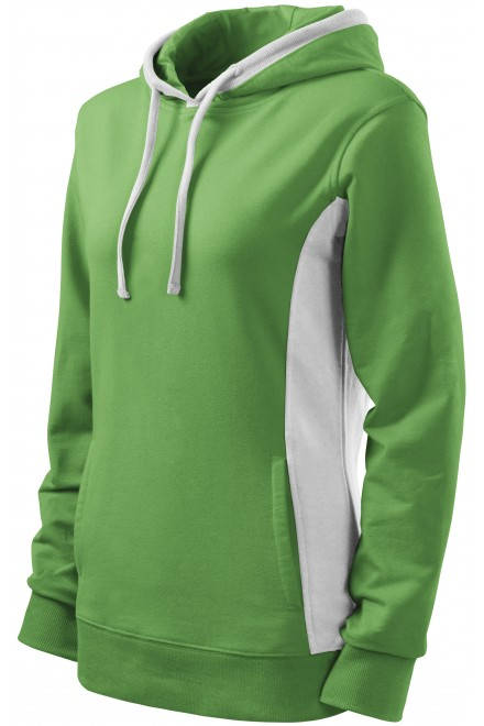 Ladies stylish sweatshirt with hood Grass green