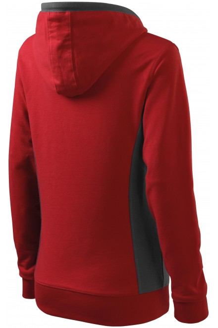 Red ladies stylish sweatshirt with hood