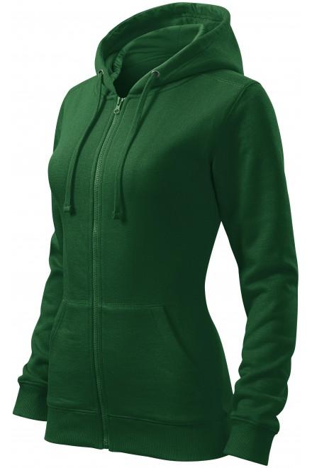 Ladies hoodie with a hood Bottle green