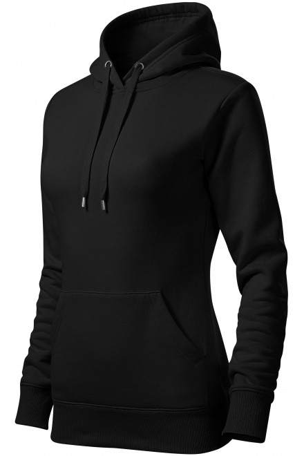 Ladies sweatshirt with hood without zip Black