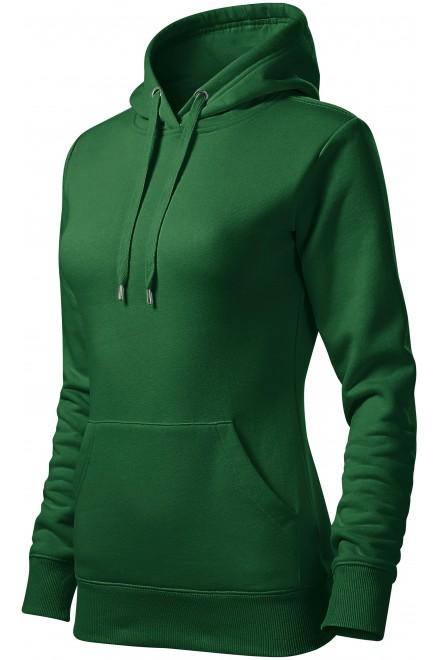 Ladies sweatshirt with hood without zip Bottle green