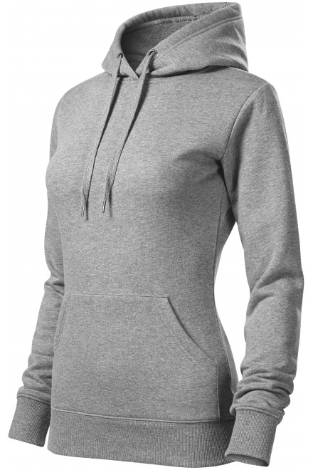 Ladies sweatshirt with hood without zip Dark gray melange