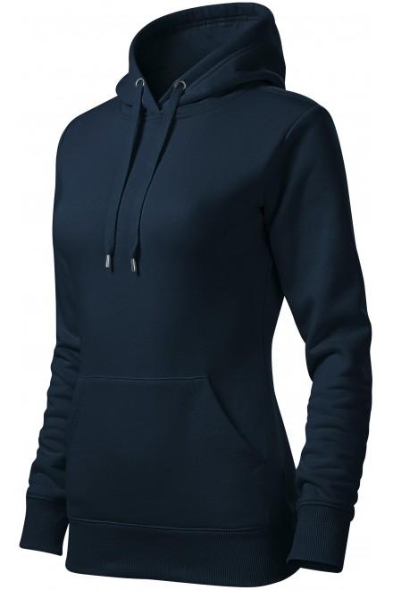 Ladies sweatshirt with hood without zip Navy blue